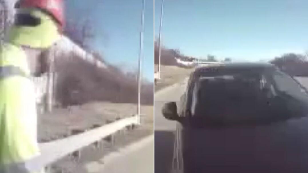 18-latek stracił kontrolę nad pojazdem. Robotnik zobaczył go w ostatniej chwili