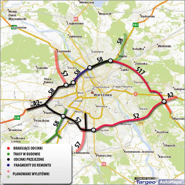 Te drogi złożą się na obwodnice Warszawy targeo.pl, tvn24.pl