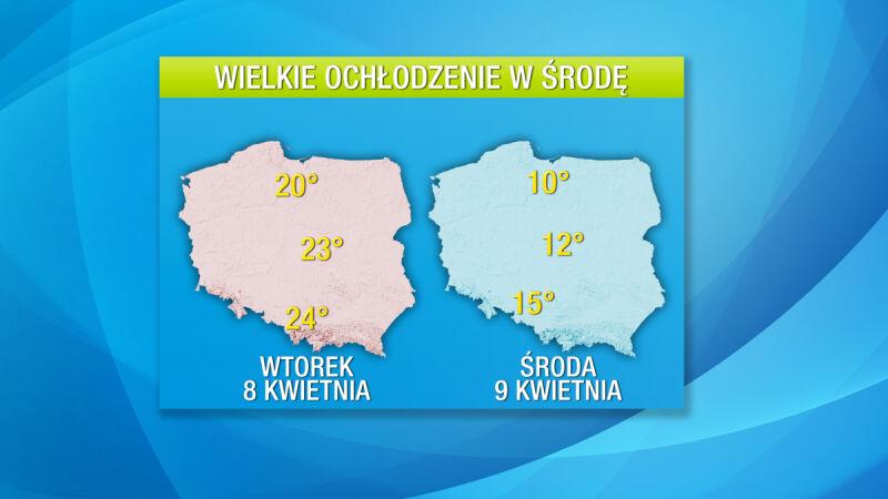 Po bardzo ciepłym wtorku 8 kwietnia nastąpi chłodna środa